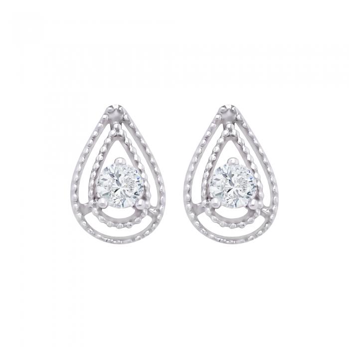 Cercei aur alb 18k cu diamante naturale [0]