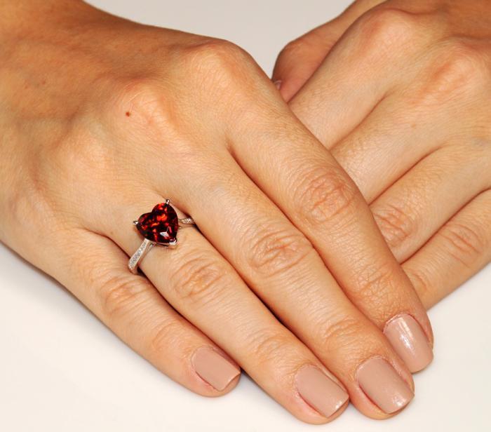 Inel Borealy Argint 925 Ruby 3.5 Carat Bridal Engagement Heart Red Marimea 5 1