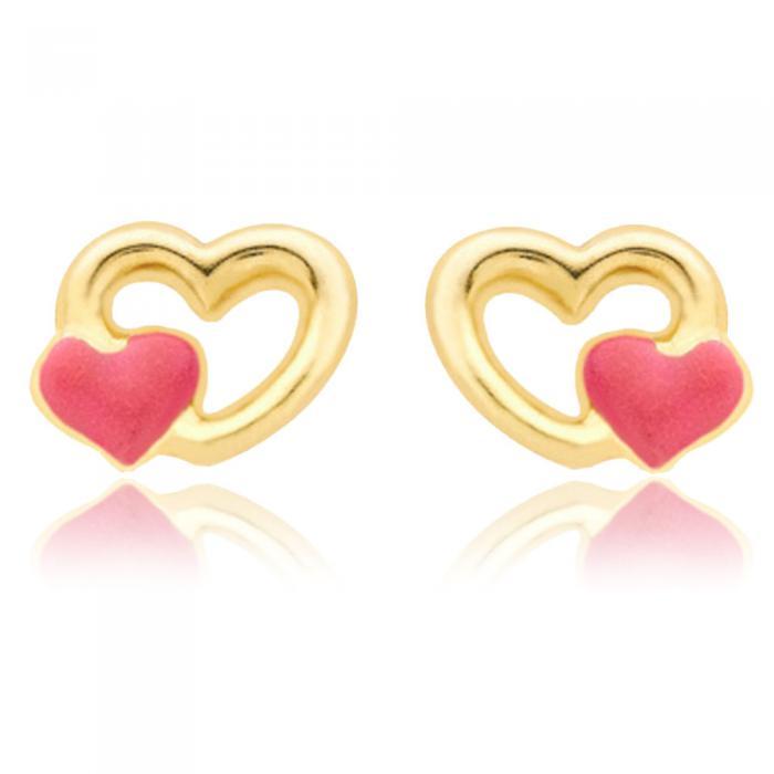Cercei pentru Copii Borealy Aur Galben 9 K Double Heart 0