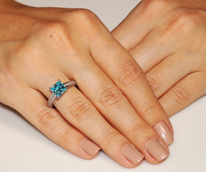 Inel Borealy Argint 925 Simulated Diamond 1.5 Carat Princess Cut Fancy Blue Mărimea 5 1