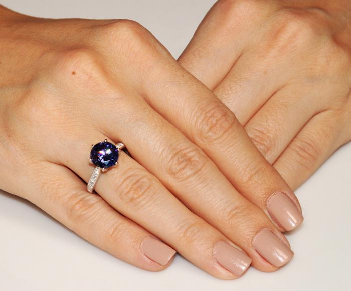 Inel Borealy Argint 925 Blue Simulated Tanzanite 3 Carat Luxury Ring Marimea 7 1