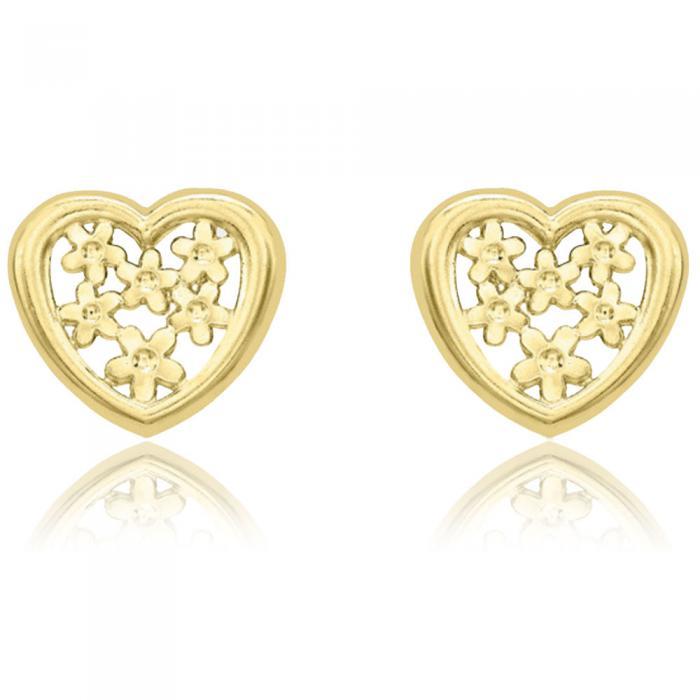 Cercei Borealy Aur Galben 9 K Flowers Heart Cadou Valentine's Day 0