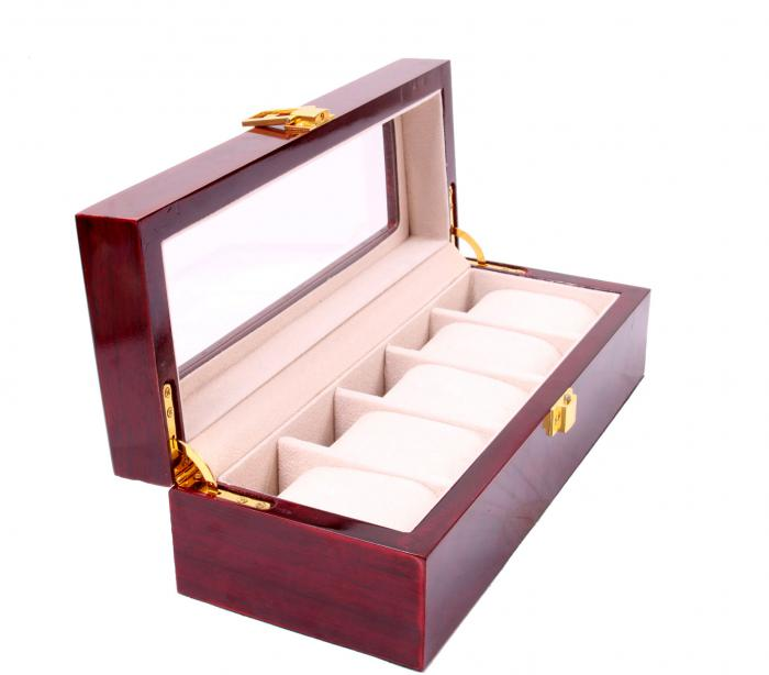 Set cutie 5 Ceasuri din Lemn Borealy Red Wood si Note pad Hugo Boss-big