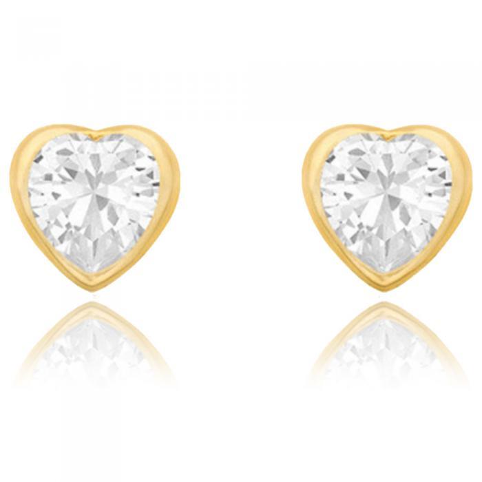 Cercei Borealy Aur Galben 9 K White Crystal Heart 0