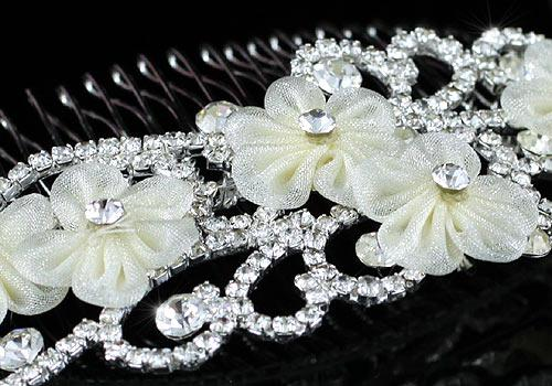 Ivory Silk Flowers Agrafa Tiara 2