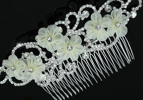 Ivory Silk Flowers Agrafa Tiara 1