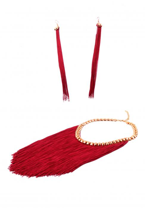 Colier si Cercei Statement Borealy Tassel Electric Red-big