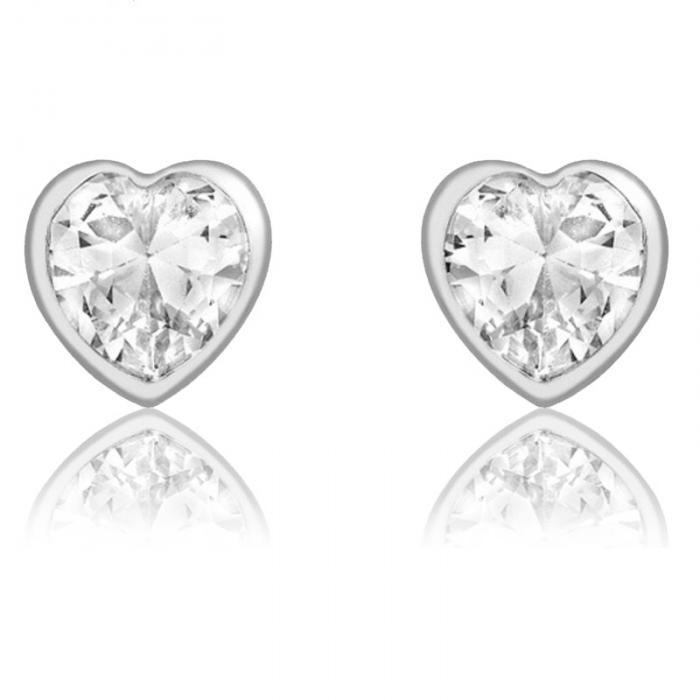 Cercei pentru Copii Borealy Aur Alb 9 K White Crystal Heart 0