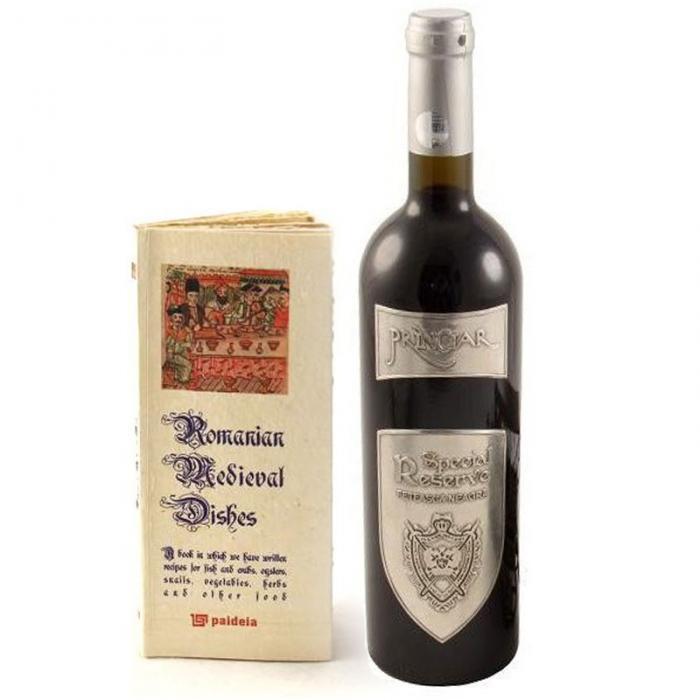 Set Cadou Romanian Medival Dishes lucrat cu hartie manuala & Princiar Wine 0