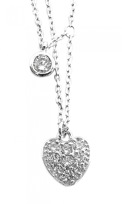 Colier Double Chain Heart 0