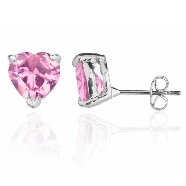 Cercei Studs Sapphire Heart Pink 4