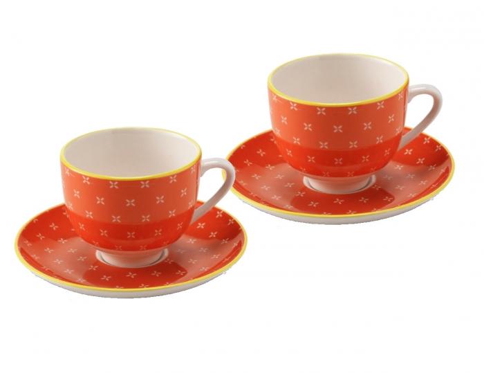 Set 6 cescute + farfurii de cafea  Orange By Zafferano, Made in Italy 0