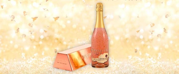 Cadou Rose Gold Luxury Şampanie - cu foiţă de aur 23 karate & Parfum Moschino Fresh Pink Couture 30 ml [1]