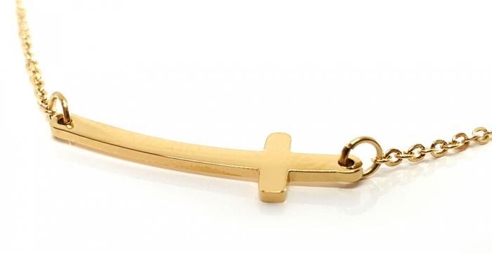Lant Double Cross Placat cu Aur Galben 2