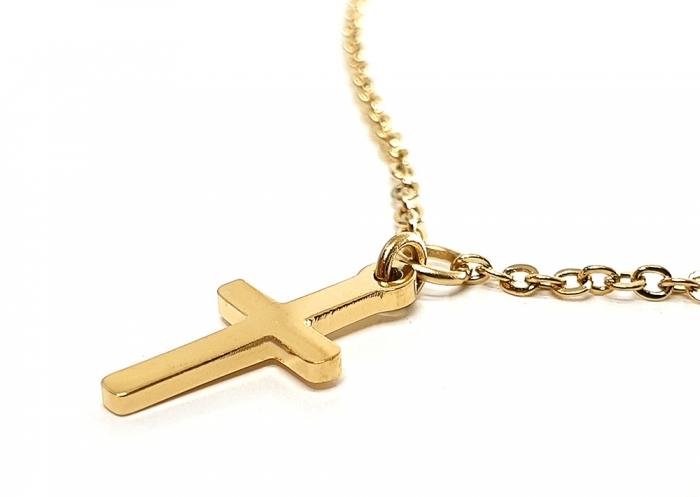 Lant Double Cross Placat cu Aur Galben 1