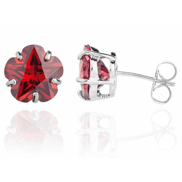 Cercei Borealy Sapphire Studs Flower Cut Red 2
