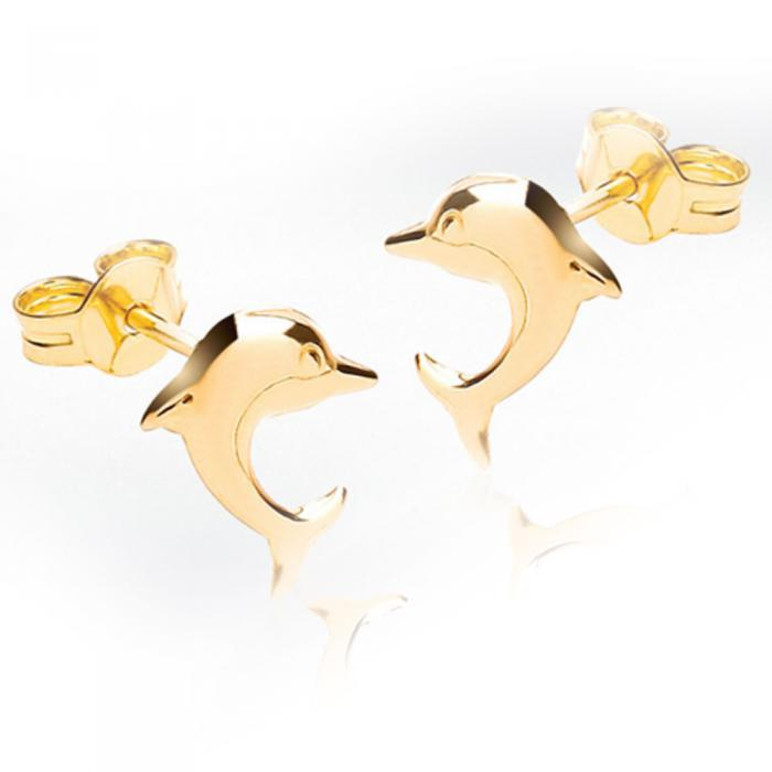Cercei pentru Copii Borealy Aur Galben 9 K Dolphin-big