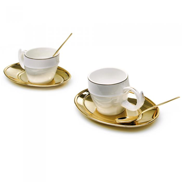 Gold Coffee Set for Two Chinelli - made in Italy-big
