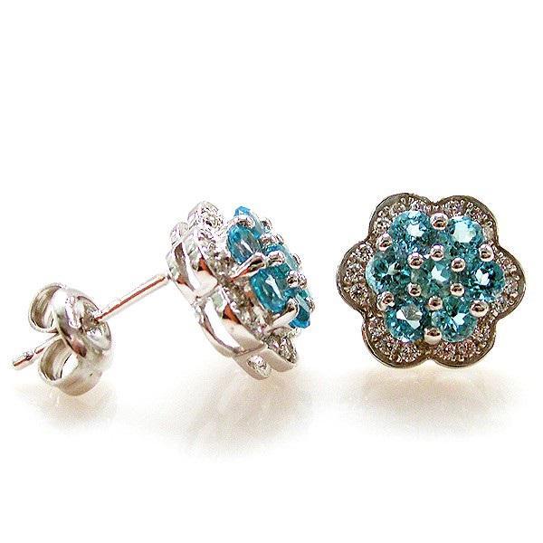 Cercei Topaz Blue Mini Flower pietre pretioase naturale 3