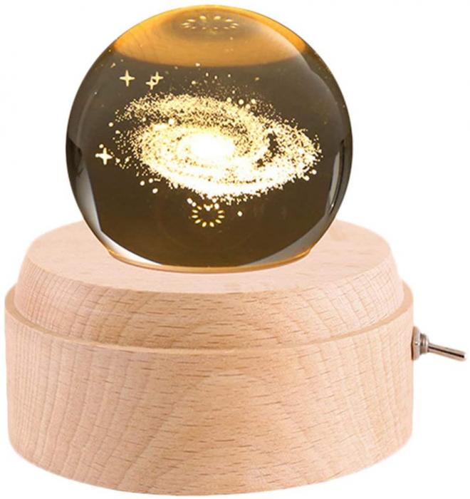 Lampa Cristal Calea Lactee 3D Rotativa si Muzicala 1
