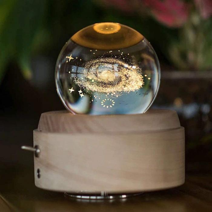 Lampa Cristal Calea Lactee 3D Rotativa si Muzicala 0