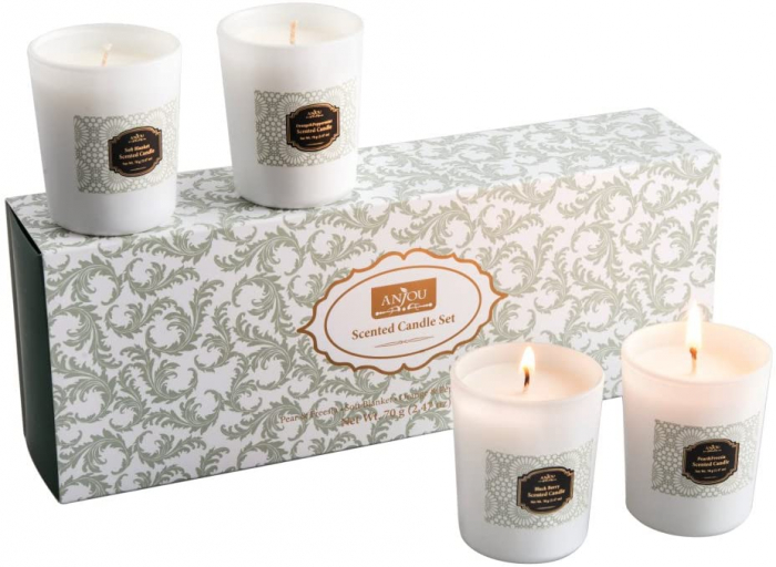 Luxury Cadou ANJOU Set 4 lumanari naturale parfumate 0