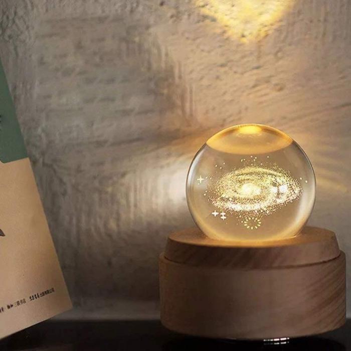 Lampa Cristal Calea Lactee 3D Rotativa si Muzicala 2