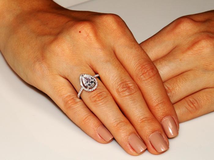 Inel Borealy Argint 925 Simulated Diamond Pear Silver Marimea 7 1