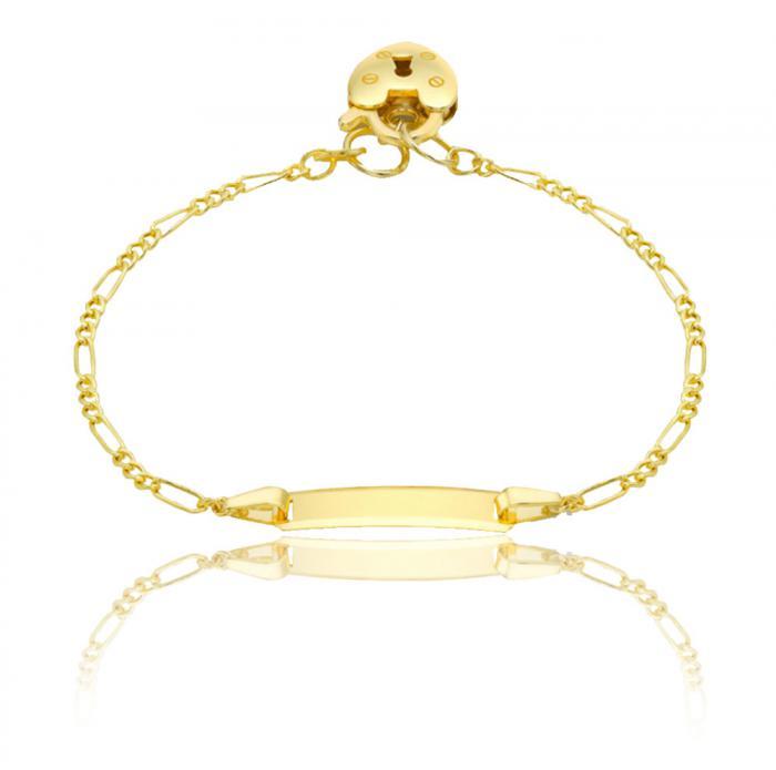 Bratara pentru Copii Borealy Aur Galben 9 K Heart Padlock 0