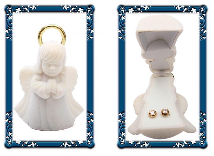 Cercei pentru Copii Borealy Aur Galben 9 K Doughnut White Crystal 2