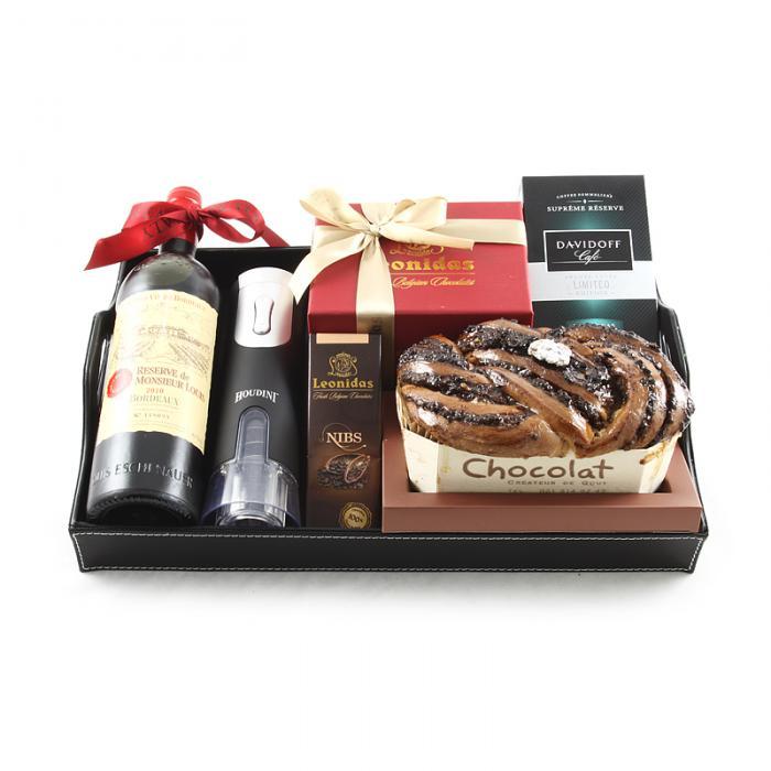 Bordeaux Luxury Black Leather Gift Tray 0