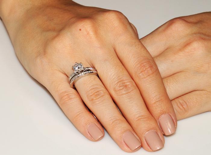 Set Inel şi Verighetă Borealy Argint 925 Solitaire Princess Marimea 7-big