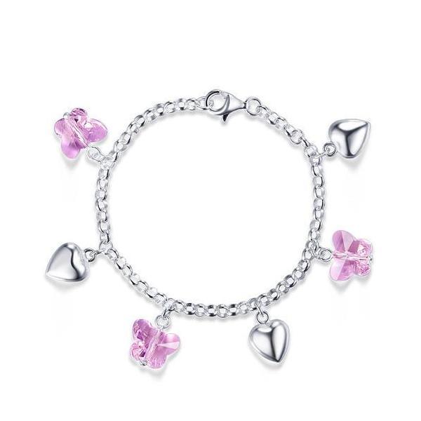 Bratara pentru Copii Borealy Argint 925 Pink Heart Butterfly 0
