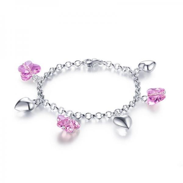 Bratara pentru Copii Borealy Argint 925 Pink Heart Butterfly 1