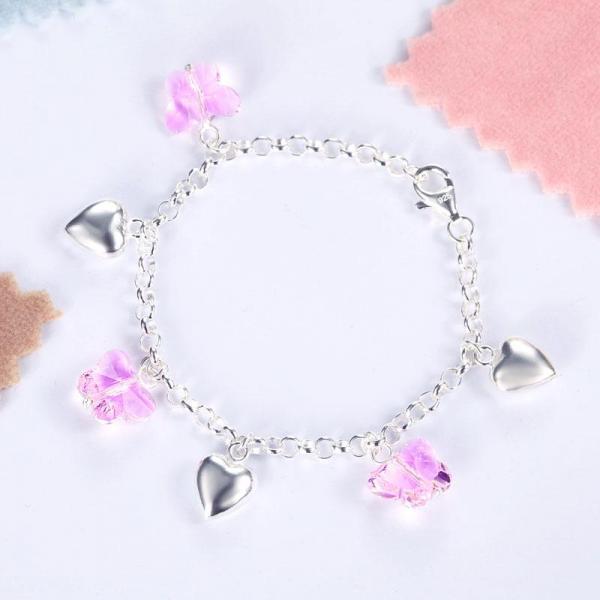 Bratara pentru Copii Borealy Argint 925 Pink Heart Butterfly 2