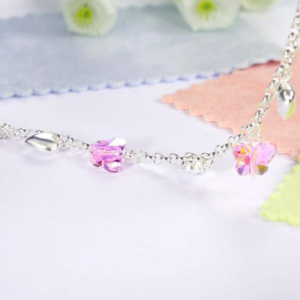 Bratara pentru Copii Borealy Argint 925 Pink Heart Butterfly 3
