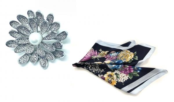 Brosa Dentelle Bouquet & Esarfa Matase Flowers by Borealy 3