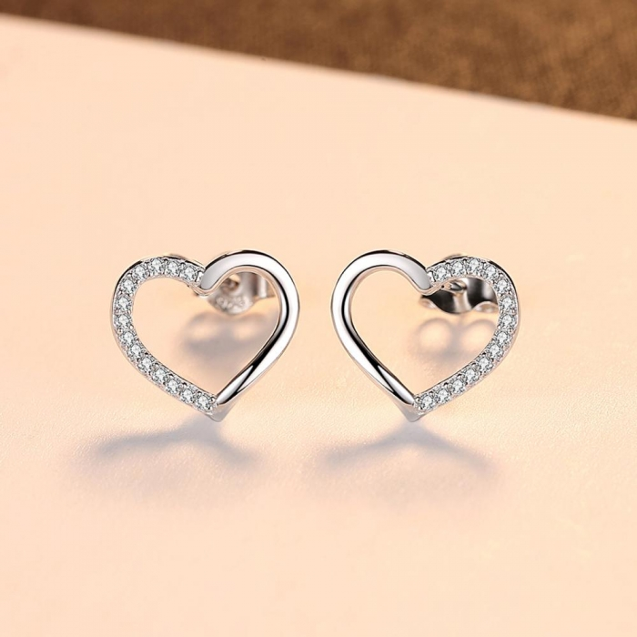 Cercei Borealy Argint 925 Two Fashionable Hearts [2]