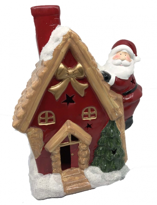 Decoratiune Craciun Santa On The House - ceramica, 30 cm inaltime x 12 cm latime x 9 latime [0]