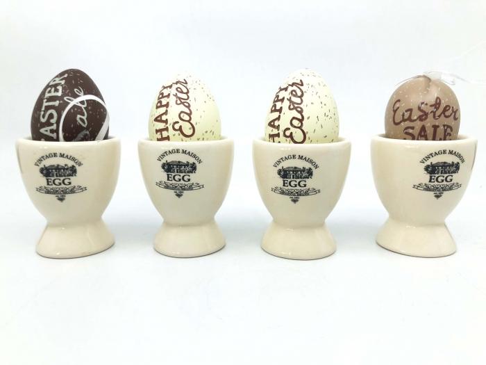 Suport Oua din Ceramica, cu Oua Decorative 2