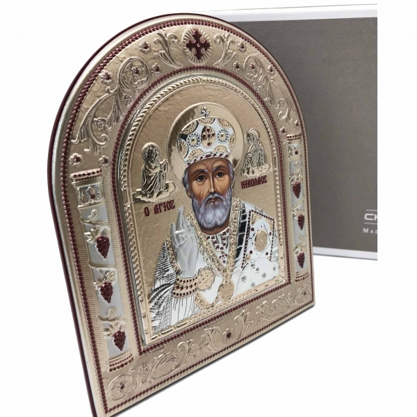 Icoana Sf. Nicolae placata cu aur si argint by Chinelli - Made in Italy 1