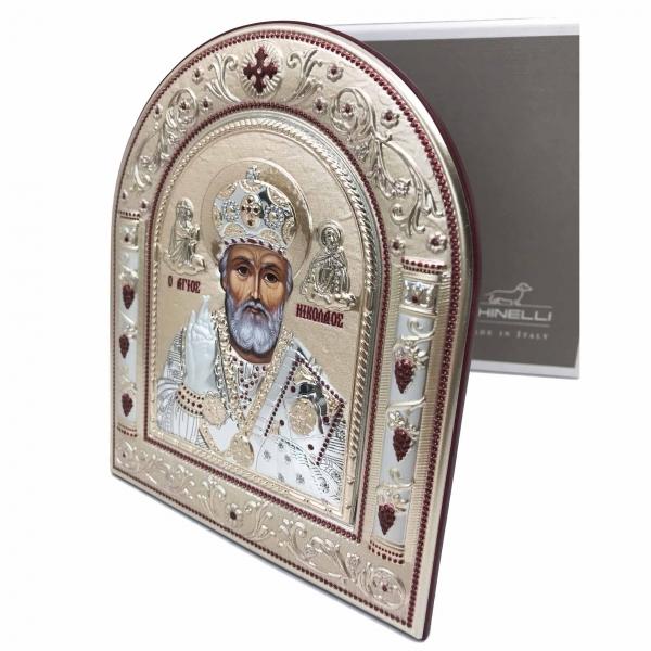 Icoana Sf. Nicolae placata cu aur si argint by Chinelli - Made in Italy 2