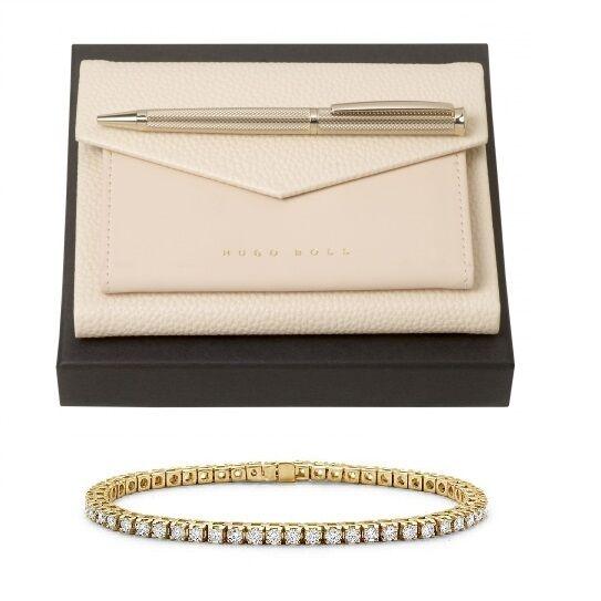 Set Sophisticated Lady, Ballpoint si Note Pad Hugo Boss, si Brăţară Tennis Gold Diamonds [0]