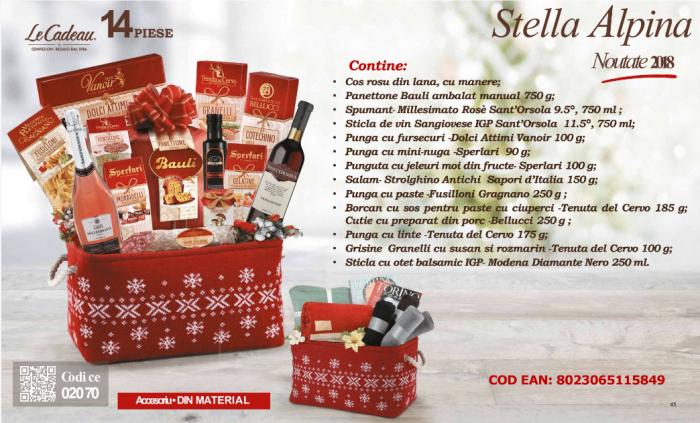 Cos de Craciun Stella Alpina - 14 piese, made in Italy 0