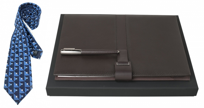 Set Pure Leather Brown Hugo Boss si Cravata Matase 0