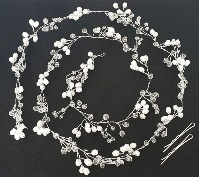Tiara Modelatoare Crystal Pearl Branch by Borealy 1