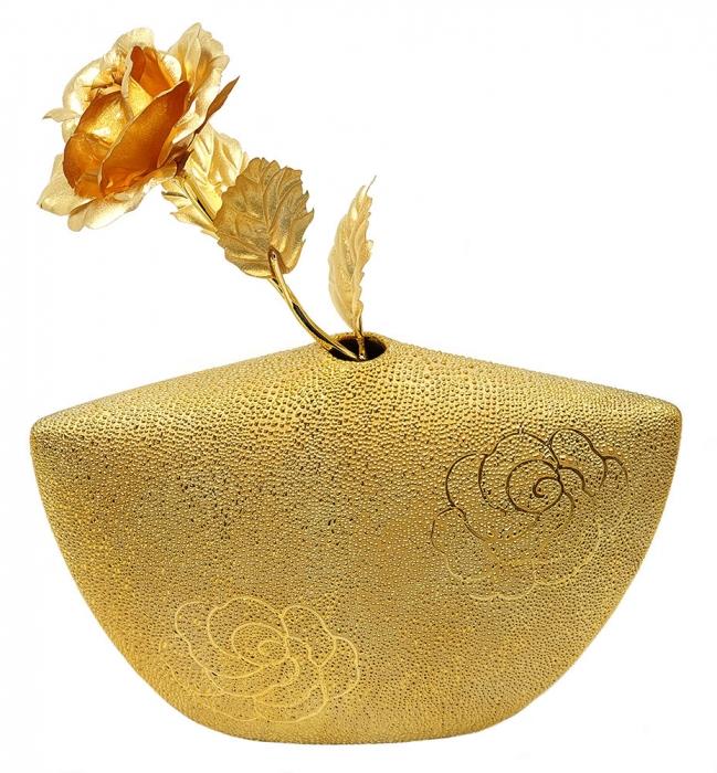 Set Cadou Trandafir Aur 24k si Vaza Rose 0