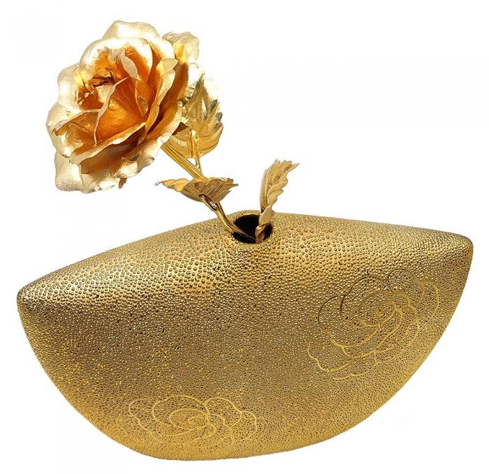 Set Cadou Trandafir Aur 24k si Vaza Rose 3