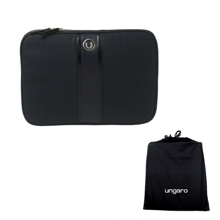 Cadou Business Geanta Laptop Ungaro Pitone Piele Blue & Butoni Noir by Borealy-big