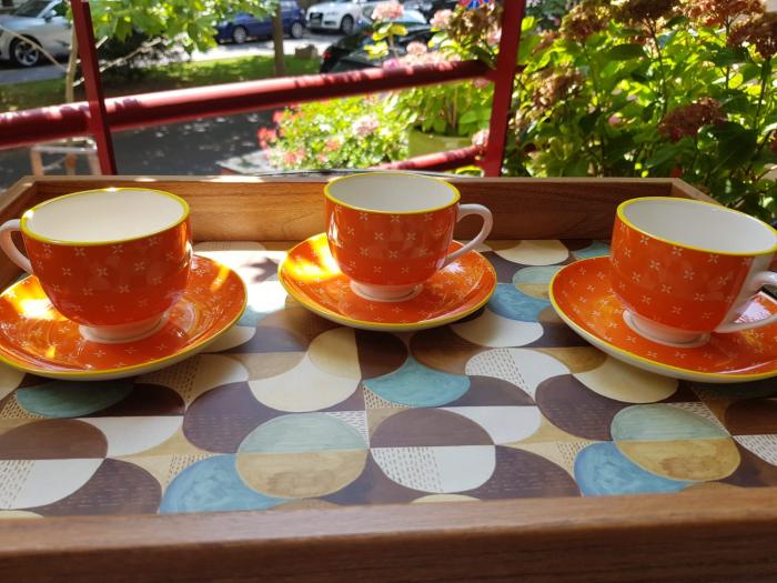 Set 6 cescute + farfurii de cafea  Orange By Zafferano, Made in Italy 2